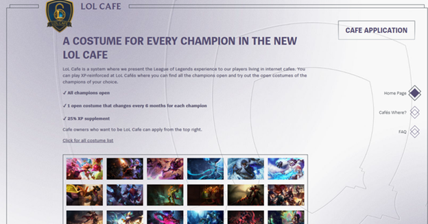 League of Legends: Riot Games' new LOL Cafe system allows players to play Full champions and skins while playing 1