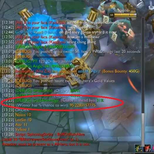 League of Legends: Bug win ratio in a match 3