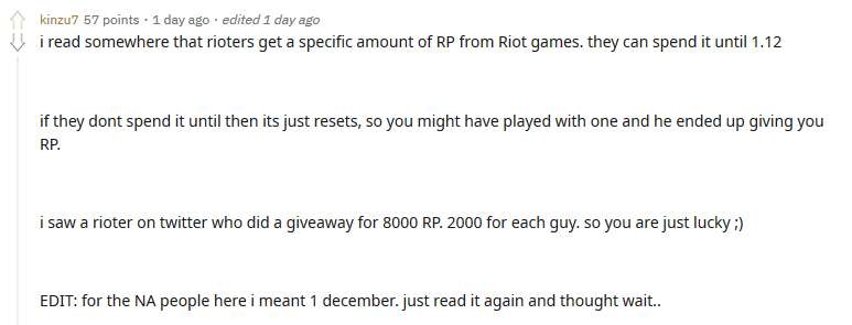 A player with Honor 0, who did nothing, but he still received 2000 RP from Riot Games 3