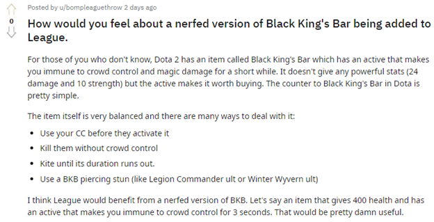 How would you feel about a nerfed version of Black King's Bar being added to League of Legends? 3