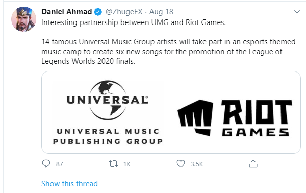 Riot Games collaborate with Universal Music - There will be 6 songs in the World finals 2020