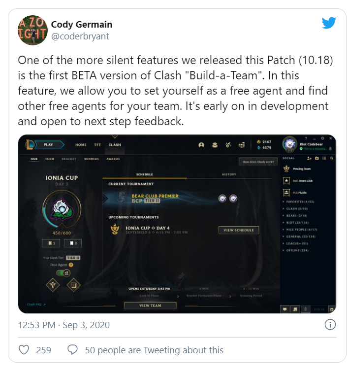 """Riot add a new feature in patch 10.18, allowing players to set themselves as """"free agents"""" for Clash 3"""