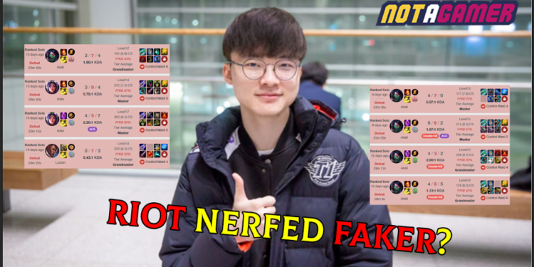 "Faker sarcastically blamed Riot for a series of defeats: ""Because I'm so good Riot manipulated matching balance."" 1"