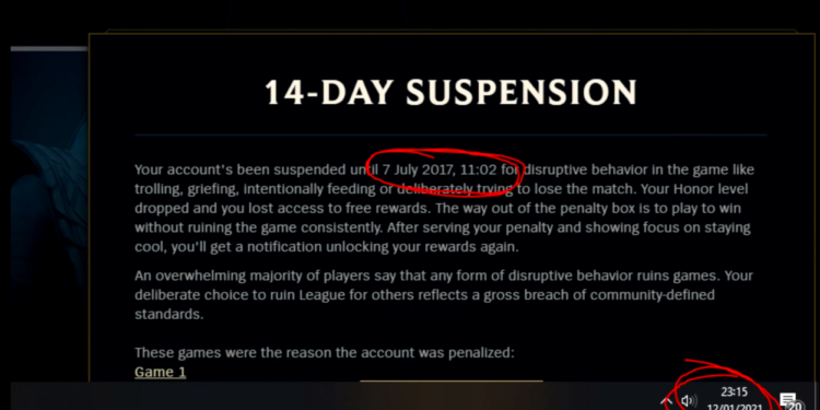 A gamer got banned 14 days from 2017 until... 2021 1