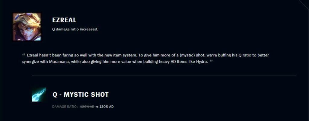 League of legends: Ezreal just starting to comeback, Riot nerfed 2 of his main items right away! 2