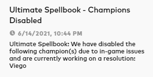 Viego will be disabled in the new game mode Ultimate Spellbook 1