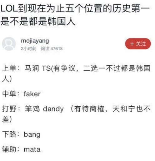 Chinese LoL community voted for the best Korean players in each position, 5 out of 7 were SKT T1 players 2