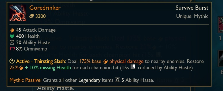 Goredrinker was immediately nerfed on the PBE after only 2 days of Worlds 3